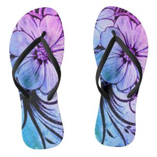 Floral azul y púrpura chanclas