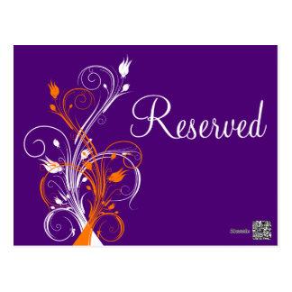 "Floral blanco anaranjado púrpura ""reservó"" la postal"