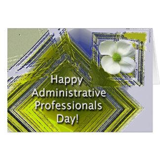 Floral blanco del día administrativo de los profes tarjeta de felicitación