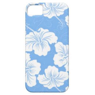 Floral blanco elegante y de moda en azul de bebé iPhone 5 cárcasas