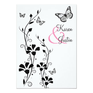 Floral blanco y negro con las mariposas en el lino invitación 12,7 x 17,8 cm