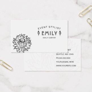 Floral blanco y negro elegante con clase tarjeta de visita