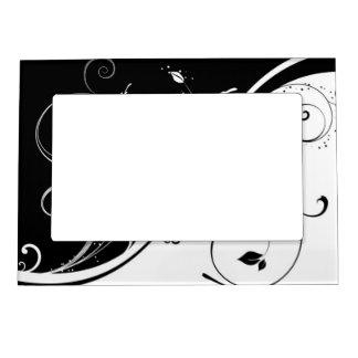 floral blanco y negro marcos magneticos para fotos