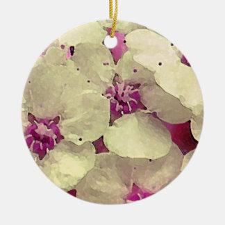 Floral blanco y rosado adorno redondo de cerámica
