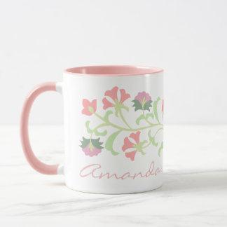 Floral delicado de encargo lindo taza
