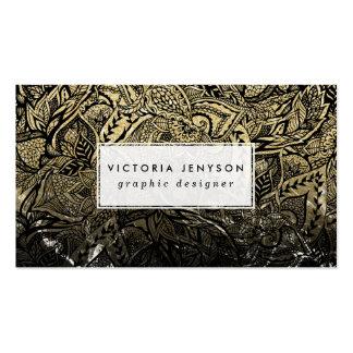 Floral dibujada mano moderna del mármol del negro tarjetas de visita