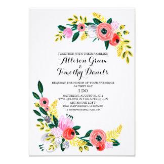 Floral dulce simple rústico de la invitación del