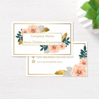 Floral elegante con la tarjeta de visita de oro de