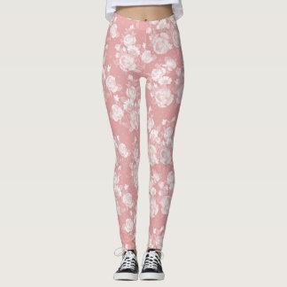 Floral elegante del vintage blanco coralino leggings