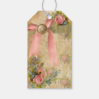 Floral elegante lamentable del vintage con la etiquetas para regalos