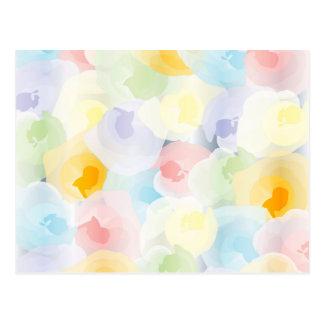 Floral en colores pastel abstracto postal