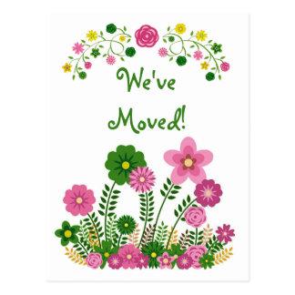 """Floral en colores pastel caprichoso """"hemos movido"""" postal"""