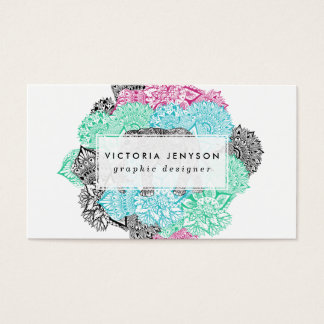 Floral en colores pastel handdrawn del elefante de tarjeta de visita