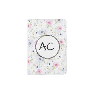 Floral en colores pastel porta pasaportes