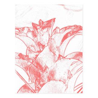 Floral en colores pastel rojo postal