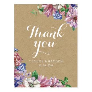 Floral en el boda del amor gracias postal