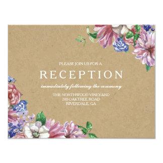 Floral en tarjetas de la recepción nupcial del invitación 10,8 x 13,9 cm
