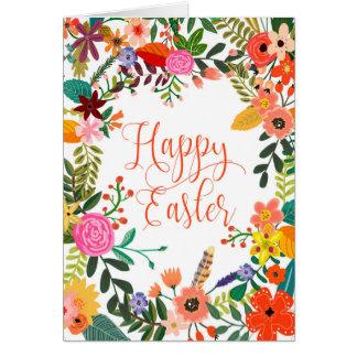 Floral feliz de la tarjeta de pascua personalizado