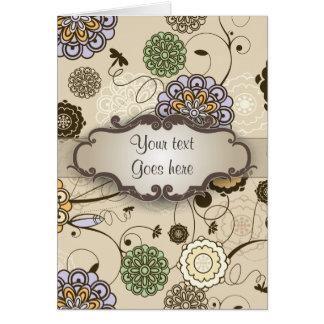 Floral geométrico en moreno con el letrero tarjeta de felicitación