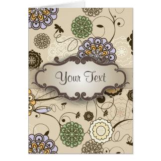 Floral geométrico en moreno con el letrero tarjeta pequeña