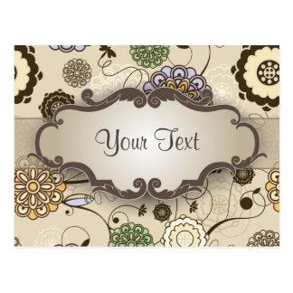 Floral geométrico en moreno con el letrero tarjetas postales