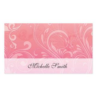 Floral grabada en relieve naranja rosado elegante tarjetas de visita
