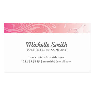 Floral grabada en relieve naranja rosado elegante tarjetas de negocios