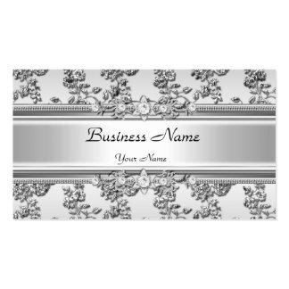 Floral grabada en relieve plata con clase elegante tarjetas de visita