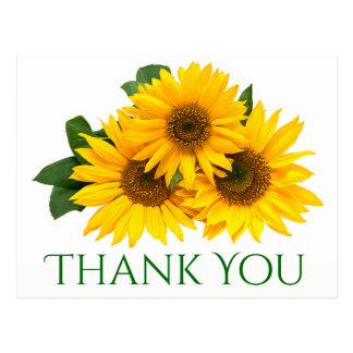 Floral gracias las flores amarillas y verdes del postal