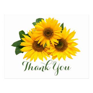 Floral gracias los girasoles amarillos y las postal