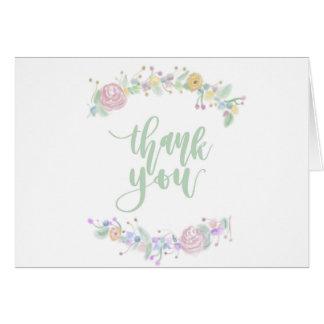 Floral gracias tarjeta de nota