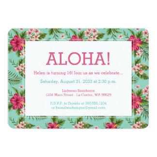 Floral hawaiano de la hawaiana invitación 12,7 x 17,8 cm