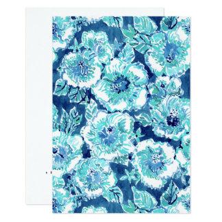Floral hawaiano tropical azul de la GENEROSIDAD Invitación 8,9 X 12,7 Cm