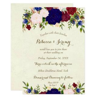 floral moderno de la invitación del boda del vino