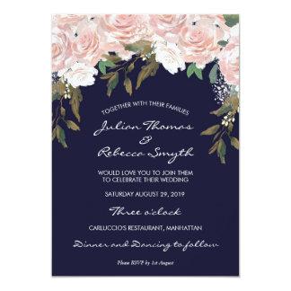 Floral moderno de la invitación rosada del boda de