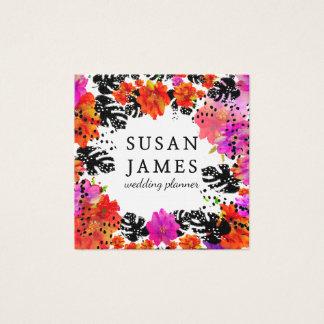 Floral moderno floreciente de la acuarela tropical tarjeta de visita cuadrada