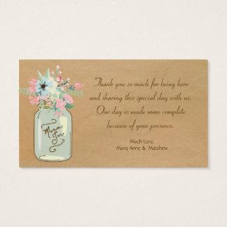 Floral moderno rústico del tarro de albañil de la tarjeta de negocios