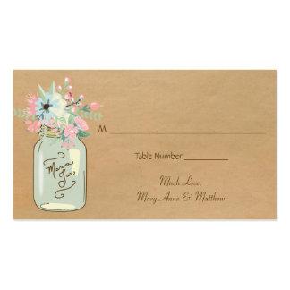 Floral moderno rústico del tarro de albañil de la tarjetas de visita