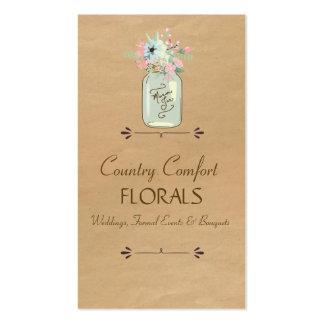 Floral moderno rústico del tarro de albañil de la  plantillas de tarjeta de negocio