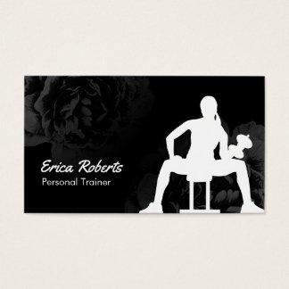 Floral negro con clase del instructor personal del tarjeta de visita