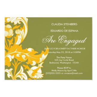 Floral oscuro y con clase elegante - verde de invitaciones personales