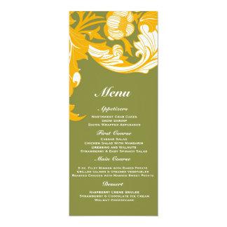 Floral oscuro y con clase elegante - verde de invitación 10,1 x 23,5 cm