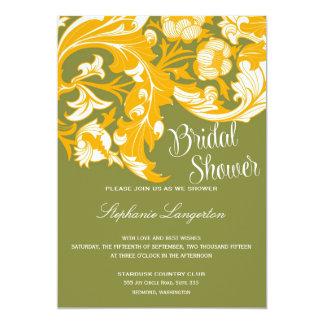 Floral oscuro y con clase elegante - verde de invitación 12,7 x 17,8 cm