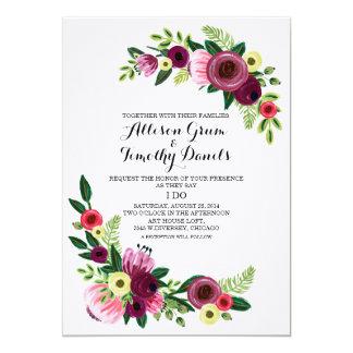 Floral pintado a mano de Borgoña de la invitación