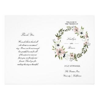 Floral precioso - programa del boda folleto 21,6 x 28 cm