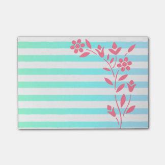 Floral rayado azul claro notas post-it®