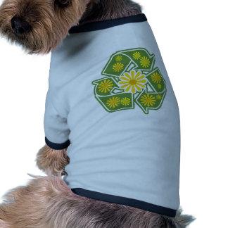 Floral recicle la muestra camiseta con mangas para perro