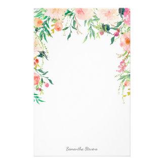 Floral rosado bonito con su nombre papelería