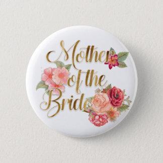 Floral rosado con la madre del oro de la novia chapa redonda de 5 cm