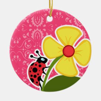Floral rosado; Mariquita Adorno Redondo De Cerámica